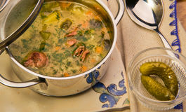 Meat soup with potato in a pan Royalty Free Stock Images