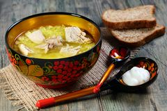 Meat soup with rice. Stock Photo