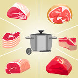 Meat for soup set Royalty Free Stock Photos