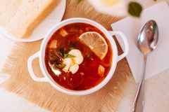 Meat Soup Solyanka, on a wooden table. Stock Photography