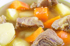 Meat soup with vegitables Stock Images