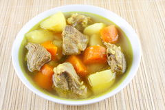 Meat soup with vegitables. Meat soup with vegetables close up Royalty Free Stock Photography