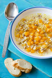 Meat soup with wheat and pumpkin Stock Photography