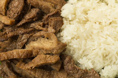 Meat from soy bean with sticky rice Stock Photo