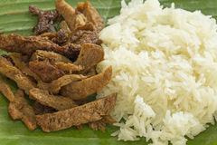 Meat from soy bean with sticky rice Royalty Free Stock Photo