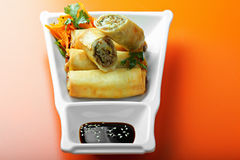 Meat spring rolls in a plate Stock Photo