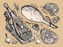 meat ställ in skissar den drog beståndsdelhanden också vektor för coreldrawillustration stock illustrationer
