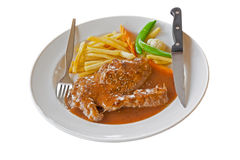 Meat stake with salad stock photo