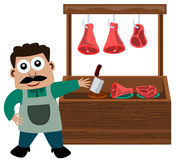 Meat stall. A cartoon man selling meat at his meat stand Royalty Free Stock Images