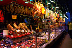 Meat stall at Barcelona market Stock Photography