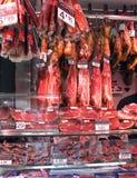 Meat stall La boqueria market barcelona Royalty Free Stock Photo