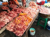 Meat stall. At thai fresh market Royalty Free Stock Photo