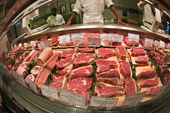Meat stand. Fresh steaks on a nice display, little Italy, NY Royalty Free Stock Photography