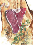Meat steak beef steak veal chop butcher cut board watercolor painting illustration  on white background Stock Photo