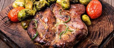 Meat steak with brussels sprouts stock photo
