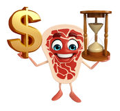 Meat steak character with dollar sign & sand clock Royalty Free Stock Photos