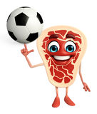 Meat steak character with football Stock Image