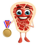 Meat steak character with gold medal Royalty Free Stock Image