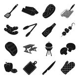 Meat, steak, firewood, grill, table and other accessories for barbecue.BBQ set collection icons in black style vector. Symbol stock illustration Royalty Free Stock Photography