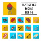 Meat, steak, firewood, grill, table and other accessories for barbecue.BBQ set collection icons in flat style vector. Symbol stock illustration Royalty Free Stock Photography