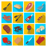 Meat, steak, firewood, grill, table and other accessories for barbecue.BBQ set collection icons in flat style vector Stock Photo