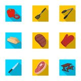 Meat, steak, firewood, grill, table and other accessories for barbecue.BBQ set collection icons in flat style vector. Symbol stock illustration Stock Photos
