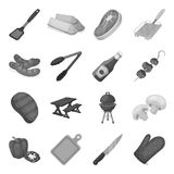 Meat, steak, firewood, grill, table and other accessories for barbecue.BBQ set collection icons in monochrome style Stock Images