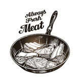 Meat, steak in frying pan. Hand drawn sketch vector illustration Royalty Free Stock Image