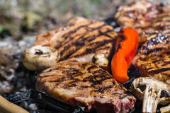 Meat steak on grill Royalty Free Stock Photo