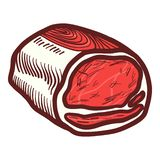 Meat of steak icon, hand drawn style vector illustration
