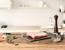 Meat steak on kitchen Stock Photos