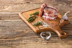 The meat steak on kitchen. Or home at table Royalty Free Stock Photography