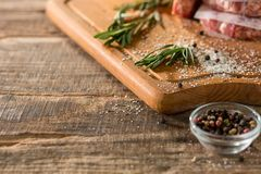 The meat steak on kitchen. Or home at table Royalty Free Stock Images
