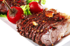 Meat steak on plate Stock Image