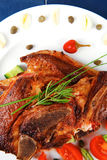 Meat steak on white plate Royalty Free Stock Image