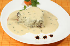 Meat steak with white sauce Stock Photo