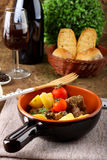 Meat stew with boiled potatoes and tomato Royalty Free Stock Photo