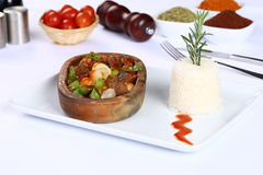 Meat stew in ceramic hot pot Royalty Free Stock Photography