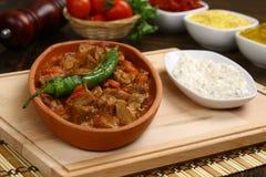 Meat stew in ceramic hot pot Stock Photos