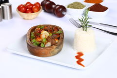 Meat stew in ceramic hot pot Royalty Free Stock Photo