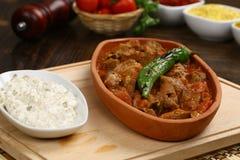 Meat stew in ceramic pot Stock Image