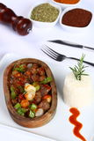 Meat stew in ceramic pot Stock Images