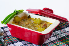 Meat stew with pickles in a ceramic stewpot Stock Image
