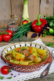Meat stew with potatoes and vegetables Stock Photo