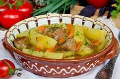 Meat stew with potatoes and vegetables Stock Image