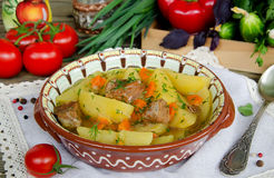 Meat stew with potatoes and vegetables Stock Images