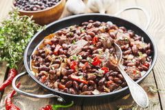 Meat stew with red beans and chili Royalty Free Stock Photo