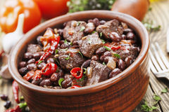 Meat stew with red beans and chili Royalty Free Stock Photography