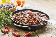 Meat stew with red beans and chili Stock Image
