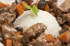 Meat stew with rice. Close-up of meat stew (pork or beef) with rice Stock Photography